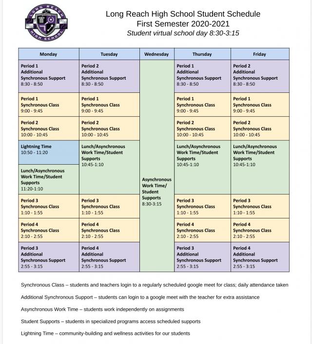 Hcpss Calendar 2022.Sample Student Schedule For 2020 2021 Long Reach High School