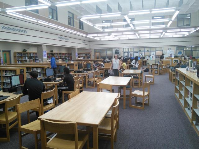 Ms. Minisohns class in the Information Center